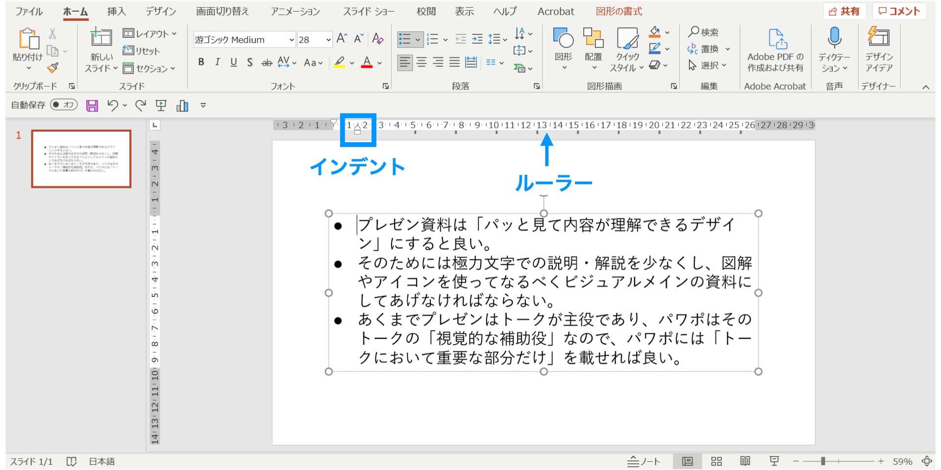 パワーポイント,PowerPoint,デザイン,箇条書き,使い方,インデント